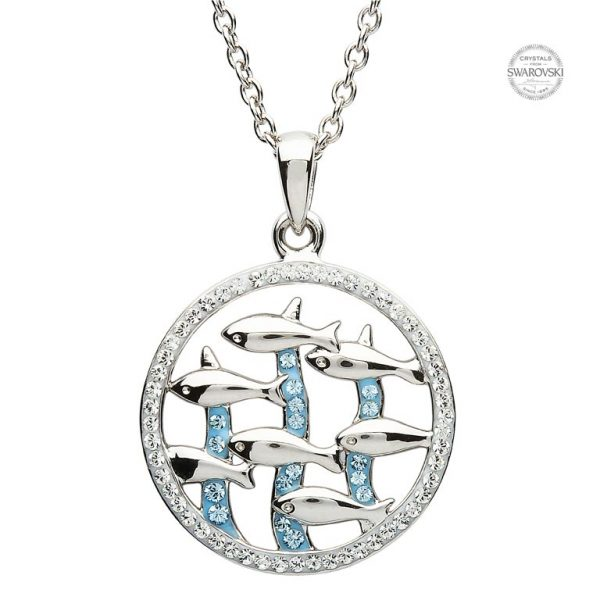 Blue Fish Necklace Encrusted with White and Aquamarine Swarovski Crystal