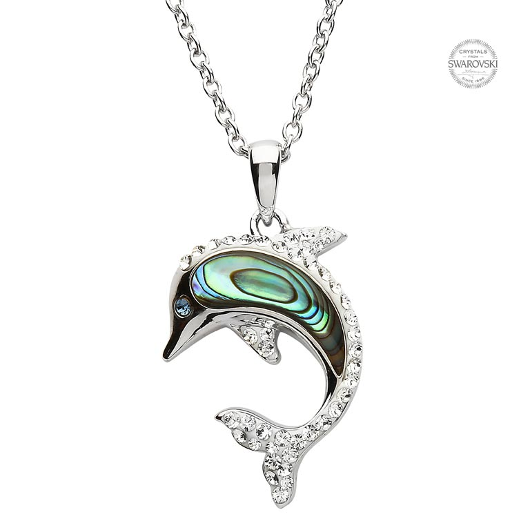 Dolphin Necklace Adorned with White Swarovski Crystals