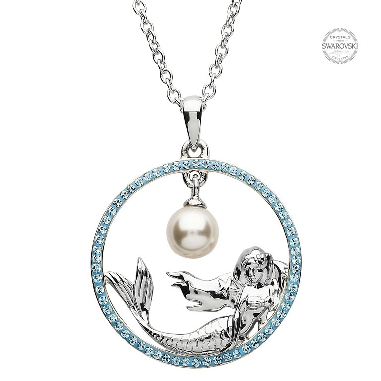 Mermaid Necklace Encrusted with Aquamarine Swarovski® Crystals ... f5f407259