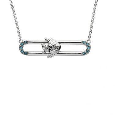 Fish Pendant Slider With Blue & Swarovski® Crystals