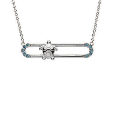 Turtle Slider Pendant With Blue Swarovski® Crystals