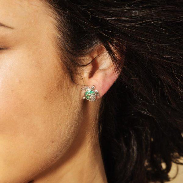 Turtle Stud Earrings Green