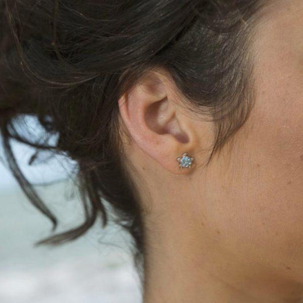 Turtle Stud Earrings on Beach