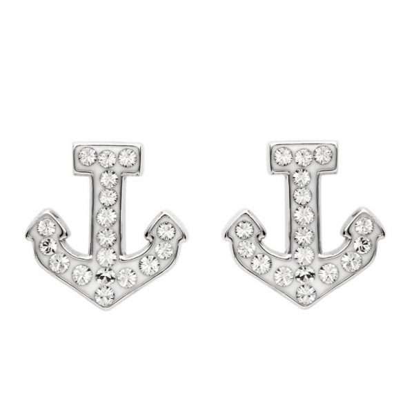 Anchor Stud Earrings Encrusted with White Swarovski® Crystal