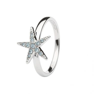 Aqua Starfish Ring Encrusted with White Swarovski® Crystal