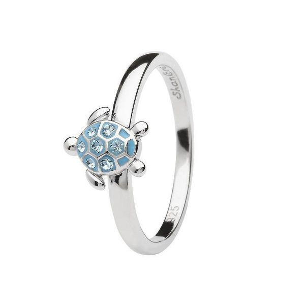 Sea Turtle Ring Encrusted with White Swarovski® Crystal