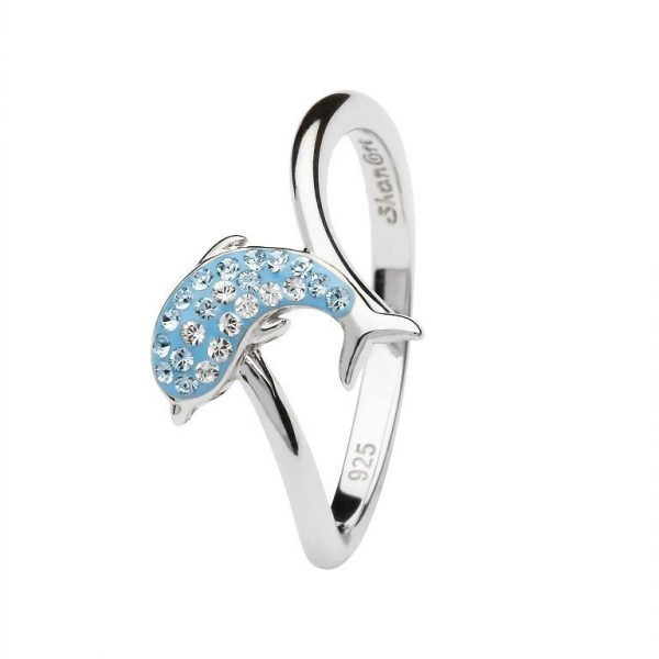 Blue Dolphin Ring Encrusted with White Swarovski® Crystal