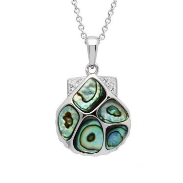 Clam Shell Necklace with Swarovski® crystals Abalone Shell