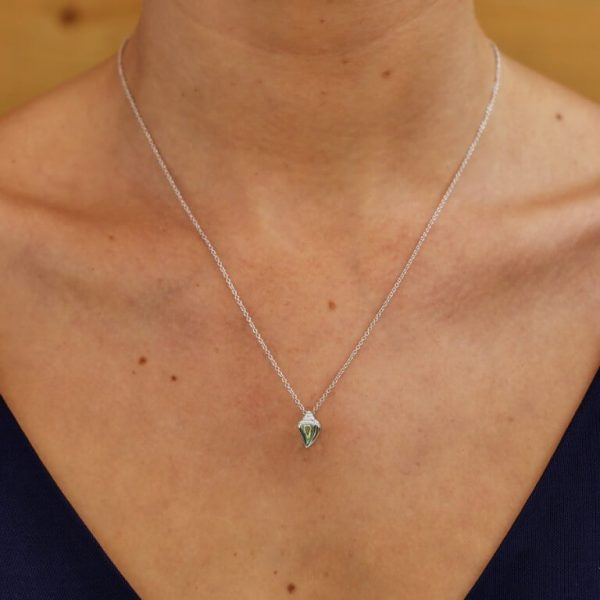 Conch Shell Necklace Adorned with White Swarovski® Crystal