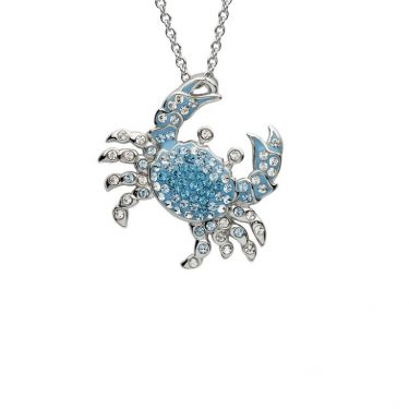 Blue Crab Pendant With Swarovski® Crystals