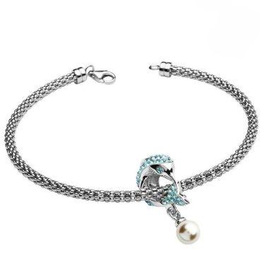 Aqua Dolphin Bracelet With Swarovski® Crystals