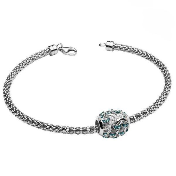 Dolphin Charm Bracelet With Swarovski® Crystals