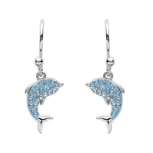 Dolphin Drop Earrings With Aqua Swarovski® Crystals