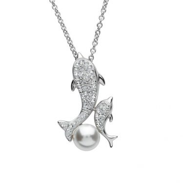 Mother & Baby Dolphin Necklace & Swarovski® Crystals