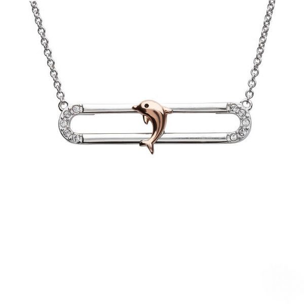 Dolphin Necklace Slider With Rose Gold Accent & Swarovski® Crystals