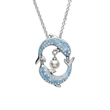 Dolphin Pendant with Pearl & Aqua Swarovski® Crystals