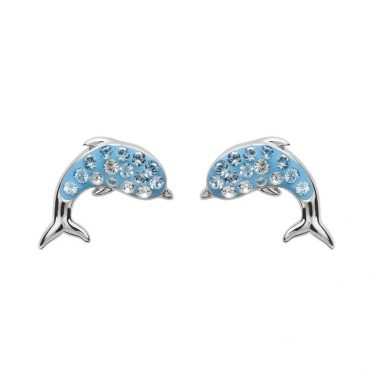 Dolphin Stud Earrings with Aqua Swarovski® Crystals
