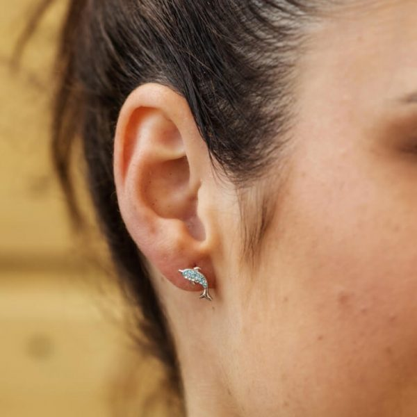 Dolphin Stud Earrings with Aqua Swarovski® Crystals