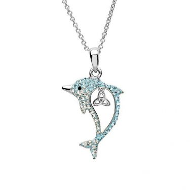 Aqua Trinity Dolphin Necklace with Swarovski® Crystals
