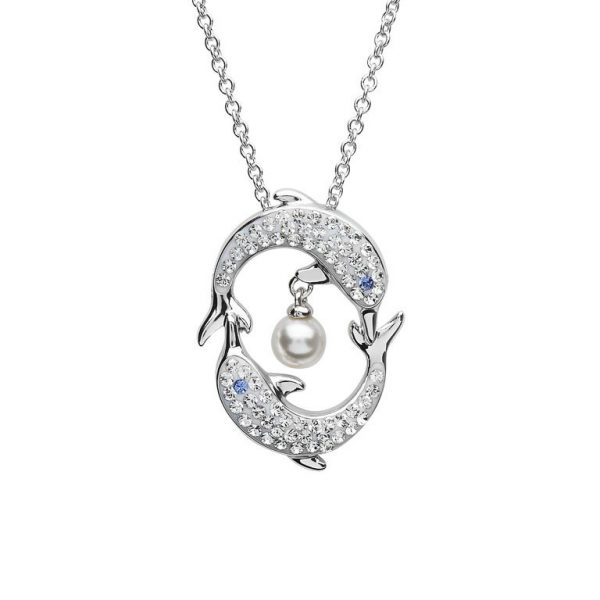 Dolphin & Pearl Necklace With Clear Swarovski® Crystals