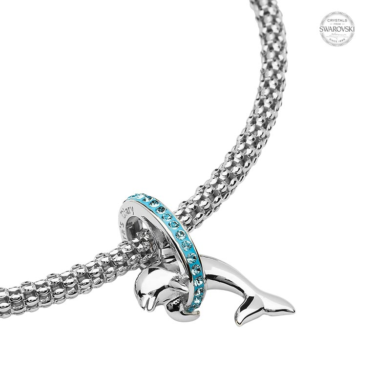 Sea Green Adventurine Gemstone Dolphin Silver Mirror Charm Dipping Dolphin
