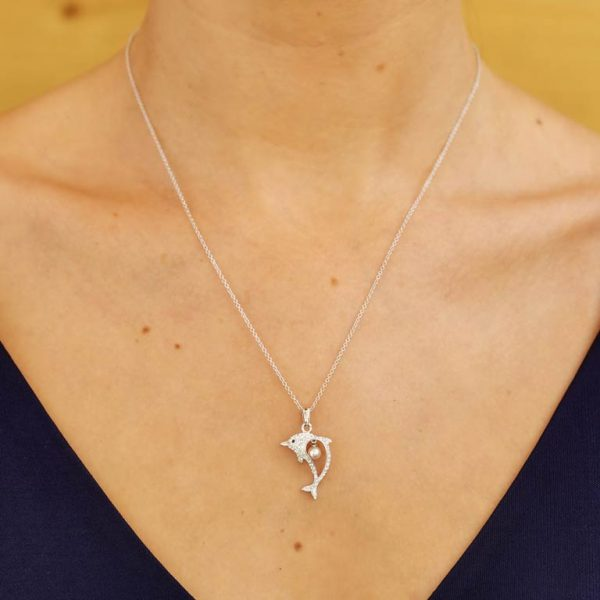 Dolphin Necklace Embellished With Swarovski® Crystal & Pearl