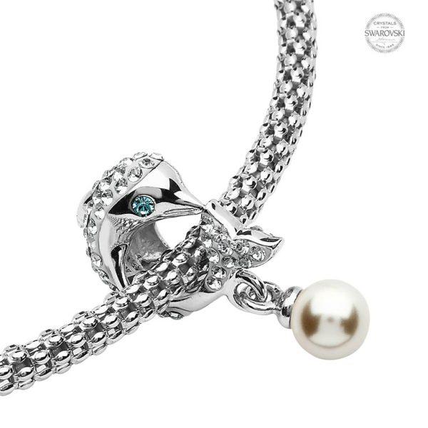 Pearl & Crystal Dolphin Charm Bead With Swarovski® Crystals