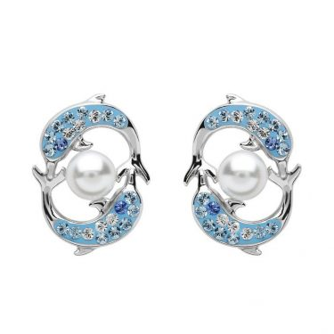 Dolphins & Pearl Drop Earrings With Swarovski® Crystals
