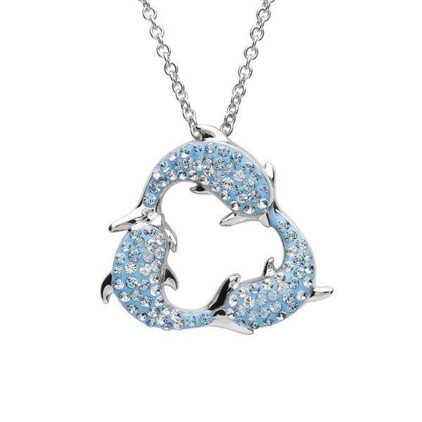 Three Dolphins Necklace in Aqua Swarovski® Crystals