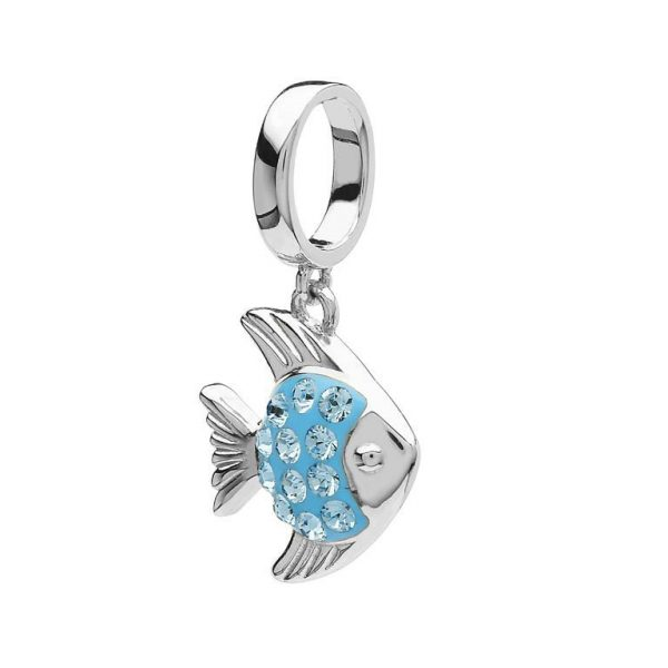 Turquoise Fish Charm with Swarovski® Crystals