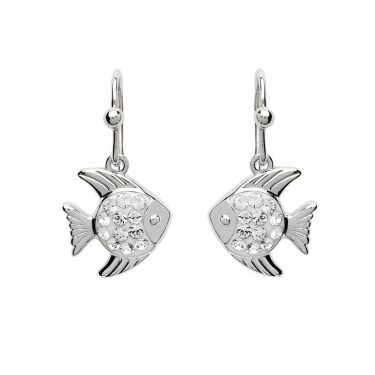 Dangle Fish Earrings with Swarovski® Crystals
