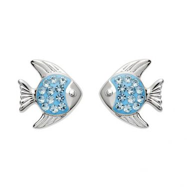 Blue Stud Fish Earrings with Swarovski® Crystals