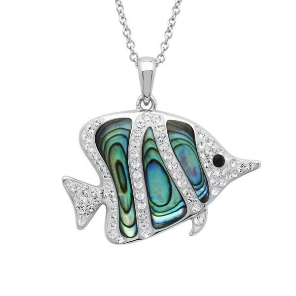 Fish Necklace with Swarovski® Crystals and Abalone Shell