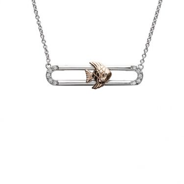 Fish Necklace Slider With Rose Gold Accent & Swarovski® Crystals
