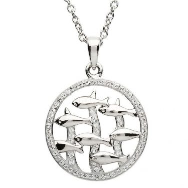 Fish Necklace Encrusted with White Swarovski® Crystal