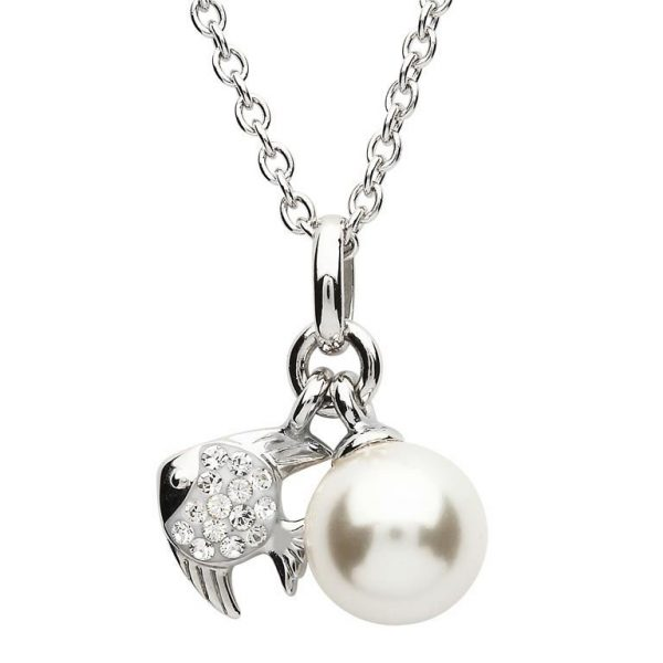 Fish Pearl Necklace Adorned with White Swarovski® Crystal