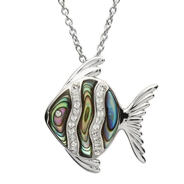 Fish Abalone Necklace Adorned with White Swarovski® Crystal
