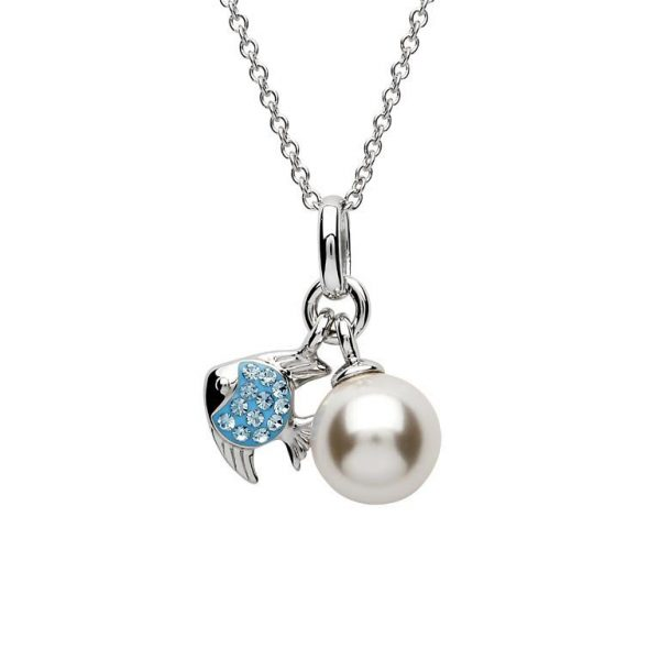 Fish and Pearl Pendant with Aqua Swarovski® Crystals