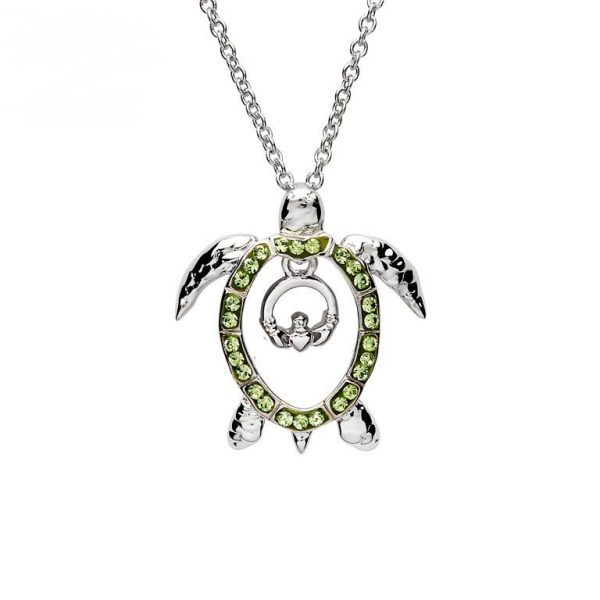 Green Turtle Claddagh Necklace With Swarovski® Crystals