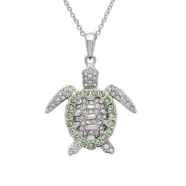 Green Turtle Pendant Encrusted with White Swarovski® Crystal