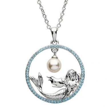 Mermaid Necklace Encrusted with Aquamarine Swarovski® Crystals
