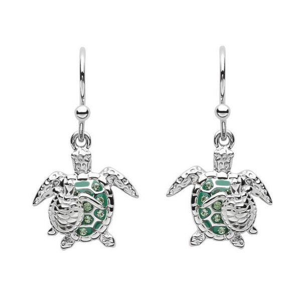 Mother And Baby Turtle Earrings with Swarovski® Crystals