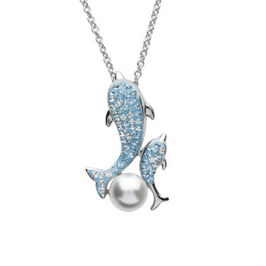 Mother Baby Dolphin Pearl Necklace With Swarovski® Crystals