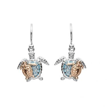 Mother & Baby Turtle Drop Earrings With Swarovski® Crystals