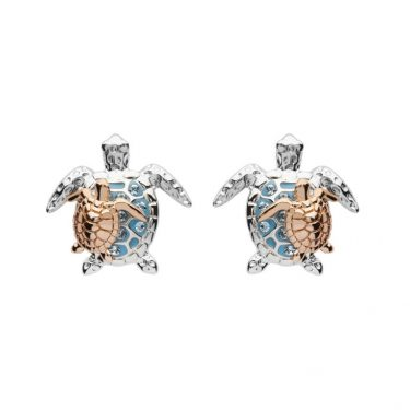 Mother & Baby Turtle Stud Earrings With Swarovski® Crystals