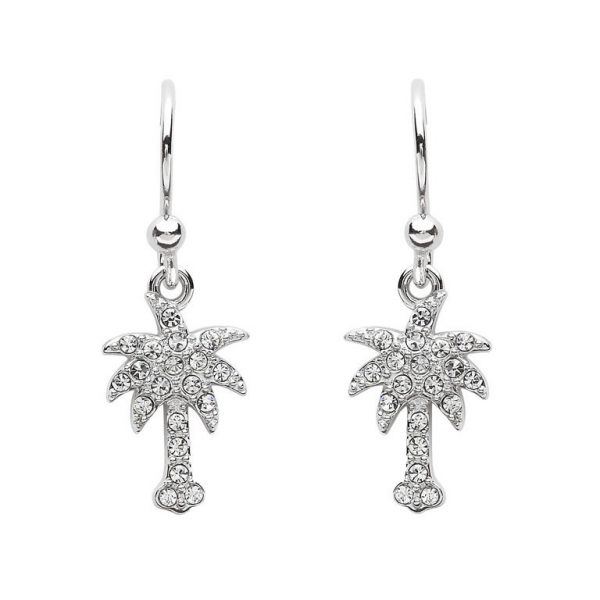 Palm Tree Drop Earrings With Swarovski® Crystals