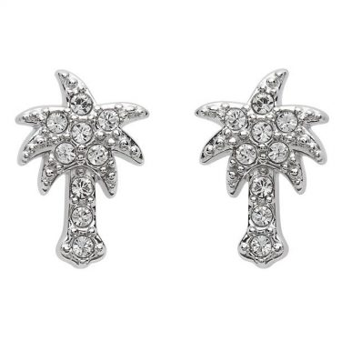 Palm Tree Stud Earrings With Swarovski® Crystals