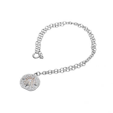 Sand Dollar Anklet with Aqua Swarovski® Crystals