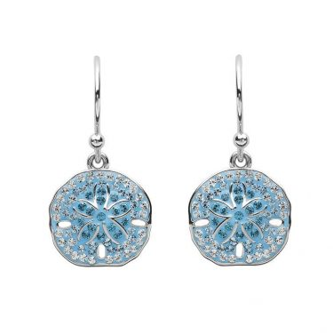 Sand Dollar Earrings With Aqua Swarovski® Crystals