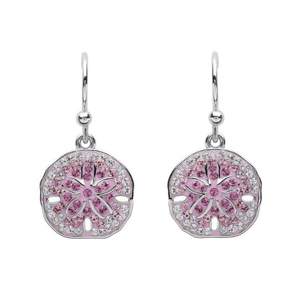Sand Dollar Earrings With Pink Swarovski® Crystals